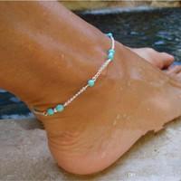 moda de metal tobillera al por mayor-Tobillera de moda Azul turquesa Grano Forma simple Cadena plateada de metal de color plateado y dorado para regalo de pie de mujer