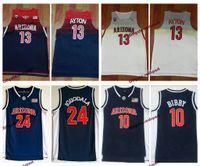 Wholesale university blue shirt - 2018 Arizona Wildcats 13 DeAndre Ayton College Basketball Jerseys 24 Andre Iguodala 10 Mike Bibby Blue University Mens Shirts