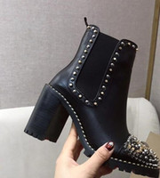 Wholesale Pull Boots - 2018 fall spring Fashion Womens black real leather Gold silver tone multi spike embellished cap toe chunky high heel pull on Ankle boots