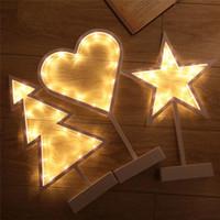 navidad lámpara batería cálido blanco al por mayor-Batería LED de luz nocturna Estrellas Árbol de navidad Amor Corazón Lámpara de mesa Chica Decoración de la habitación Luz blanca cálida para el baño Q0621