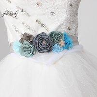 ingrosso le cinghie delle cinghie-Cintura Cintura Blue Grey Cintura Flower Beach per matrimonio da sposa con fascia fiore in strass Cintura donna maternità