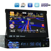 Wholesale Mobile Phone Videos - 7'' Universal single Din radio Audio car DVD Player+Radio+one din GPS Navigation+Autoradio+Stereo+Bluetooth+PC+DVD Automotivo+SD USB RDS Aux
