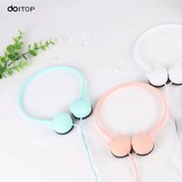 Wholesale pad jacks - DOITOP Lovely Face Cat Earphone 3.5mm Jack Wire Headphone Stereo Music Earpiece with Mic Headset For iPhone Samsung Pad MP3 MP4