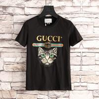 Wholesale T Shirt Plus Size Tiger - 2018 Wholesale clothing G Men's T-Shirts Full screen tiger printing hip hop clothing mens designer shirts plus size blue Khaki 3XL