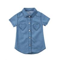 9206cd79f2eea 2018 Manches courtes Toddler Kids Bébé Filles Bleu Casual Denim shirt Parti  Pageant Dress Tops Vêtements D été