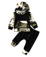 Wholesale european baby clothing online - 2pcs Hot Sale Infant Clothes Baby Clothing Sets Baby Boys Camouflage Camo Hoodie Tops Long Pants Outfits Set Clothes