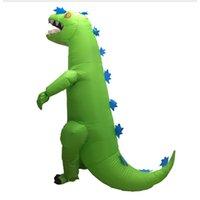 natal verde partido vestidos venda por atacado-Dinossauro verde Trajes Infláveis T-rex Anime Roupas Adulto Halloween Festa de Natal Evento Animal Traje Vestido de Brinquedo Mascote WSJ-63