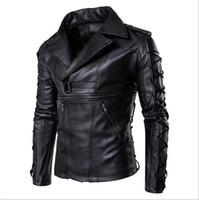 легкая кожаная куртка xl оптовых-Мужчины Designer Winter Jacket вскользь куртки ветрозащитный Ultra Light Jacket Men Casual Локомотив Jacke Черный Большой размер Кожа Jacke