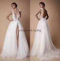 Wholesale sexy deep slit skirt - 2018 Bohemian Lace Berta Wedding Dresses 3D Appliqued A-Line Deep V-Neck Beach Bridal Gowns Sweep Train Tulle Split Side Wedding Dress