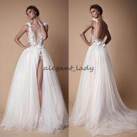Wholesale colorful spaghetti - 2018 Bohemian Lace Berta Wedding Dresses 3D Appliqued A-Line Deep V-Neck Beach Bridal Gowns Sweep Train Tulle Split Side Wedding Dress