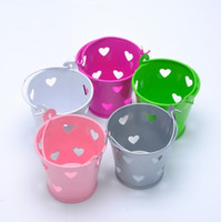 Wholesale Decoration Pails - Heart Hollow Out Tin Pail Favor Boxes Wedding Candy Package Baby Shower Party Decoration Supplies wen5076