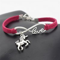 Wholesale lucky charm bracelet for women - AFSHOR New Vintage Cute Animals Antique Silver Lucky Horse Unicorn Charms Infinity Love Leather Bracelet Bangles for Women Gifts Accessories
