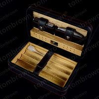 Wholesale cedar cigar case - High QualityCedar Wood High Quality Leather Cigar Humidor Leather Cedar Lined Cigar Case Cigarette Humidor with Cutter and Lighter free ship