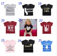 Wholesale Soft Girl Prints T Shirt - 25 Styles New Baby Girls Boys Summer T Shirt INS Kids Letter Printing Soft Cotton Short Sleeve Top Tees