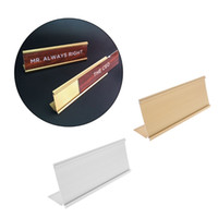 золотые имена оптовых-Золотой серебряный знак алюминиевый сплав имя стол табличка держатель офис школа 9x24cm