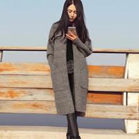 ingrosso grandi tasche cardigan lavorato a maglia-Maglione cardigan donne autunno inverno moda casual maglia spessa cardigan maglioni con grande tasca femminile lungo cappotto FS5681