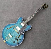 Wholesale semi hollow body guitar blue - Custom LOGO blue quilted top and back Jazz electric guitar with abalone inlay purling,Deluxe guitar made in China