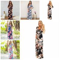 Wholesale wholesale polyester maxi dresses - Boho Women Maxi Dresses Navy V Neck Long Sleeve Women Elegant Floral Long Party beach Maternity Dresses