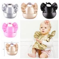 Wholesale Plain Burp Cloths - Baby waterproof bibs unisex gold silver pink black PU bibs Toddler feeding burp cloths large bibs
