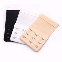 Wholesale black bra extenders - 15Pcs Bra Extenders Strap 3 Hooks 3 Rows Bra Extension Straps Ajustable Women Strap Extender Sewing Tool Accessories