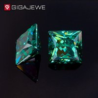 piedra verde clara al por mayor-GIGAJEWE Color verde oscuro Princesa Cortar 5.5mm 1-1.5ct Fancy Clear Moissanite Stone For Wedings Juego de anillos de compromiso