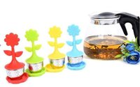 Wholesale glass strainer - Silicone flower tea strainers high quality 304 stainless steel glass with silicone tea bag colorful tea infuser