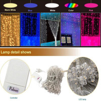 Wholesale Connect Strings - Curtain Lights 300led 3m*3m( can connect multi) 600led 6m*3m 216led5m*0.8m String Lights for Home, Garden, Kitchen, Outdoor, Party