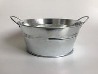 ingrosso vasi di zinco-D20CMXH8.5CM Vasi da giardino rustici Clear Metal Tub Tin Round Zinc zincato FiorierePots Grandi succulente Pentole SF-024