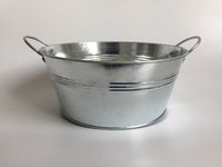 Wholesale round metal tub - D20CMXH8.5CM Rustic Clear Metal Tub Tin Round Zinc Galvanised Planters with Handle Big Succulents Pots SF-024
