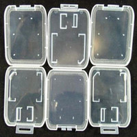 Wholesale Storage For Memory Cards - SD MMC TF Card Plastic Case box Transparent Standard Memory Card Holder Storage Case for SD SDHC Memory Card