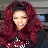 Wholesale 99j Lace Front Wigs - Free shipping black to 99j burgundy Wine red ombre Wig body wave natural Synthetic Lace Front Wigs Heat Resistant Hair Swiss Lace Wig