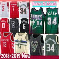 Wholesale men s basketball 13 online - Giannis Antetokounmpo Ray Allen Milwaukee Bucks Jersey Mesh Eric Bledsoe Houston Rockets James Harden Chris Paul Carmelo Anthony