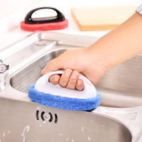 ingrosso pulizia magica della spazzola-Magic Handle Pulizia Sponge Brush Tiles Brush Wash Pot Clean Brush Sponge Bagno Accessori per la pulizia della cucina