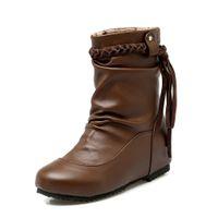 püskül düz topuk ayakkabıları toptan satış-Yumuşak PU Deri Kadın Ayak Bileği Çizmeler Püskül Düz Topuklu Kısa Çizmeler Sonbahar Kış Çizmeler Ayakkabı Slip-On Artı Büyük Boy: 34-43 ADF-8271