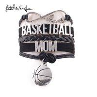 ingrosso braccialetto di pallacanestro di cuoio-Little Minglou Infinity Love BASKETBALL MOM bracciale Bracciale in pelle di pallacanestro per bracciali con ciondoli in pelle da donna
