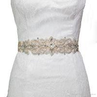 ingrosso cinturini in fiocchi di cristalli in rilievo-2018 HOT S26 strass cristallo abiti da sera abiti da festa accessori cinture da sposa telai da sposa cinturini da sposa cinture