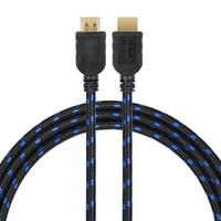 fio de ouro hdmi venda por atacado-Cabo HDMI fio trançado 1.5 m macho para macho banhado a ouro versão 1.4 1080 p 3d para hdtv xbox ps3