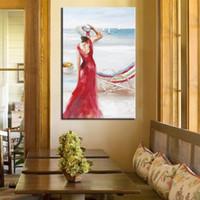 óleo lona pinturas mulheres venda por atacado-Grande Bela Pintura Pintados À Mão Abstrata Figura Pinturas A Óleo sobre Tela Home Decor Wall Art Handmade Mulher Vermelha Pictures