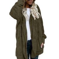 casacos com desconto venda por atacado-Jaqueta de desconto Mulheres Moda Abrir Ponto Inverno Casaco Com Capuz Feminino Manga Comprida Fuzzy Zipper Casacos de Lã Casaco de Algodão Quente
