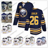 Wholesale hockey jerseys sizes - 2018 Buffalo Sabres #26 Rasmus Dahlin Draft First Round Pick Hockey Jersey White Navy Blue 35 Linus Ullmark 37 Casey Mittelstadt size S-3XL