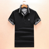 Wholesale White Pattern Shirt - L 2018 Summer New Fashion Brand Men Short-Sleeved Polo Shirts Cuffs Collar Geometric Pattern Letter Printing Medusa Casual Polo Shirts