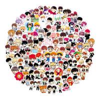 kühlschrank niedliche aufkleber großhandel-100 Teile / satz Nette Ausdruck BTS Aufkleber Cartoon Handgemalte Q Version Aufkleber Für Gepäck Laptop Notebook Kühlschrank Für Kind
