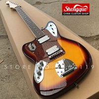 Wholesale jaguar guitar online - Factory custom left handed Jazzmaster Deluxe electric guitar tele Jaguar red turtle shell pickguard with rosewood fingerboard tremolo bridge