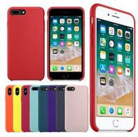 maçã original do caso para o iphone venda por atacado-Original tem o logotipo do silicone case para iphone 7 8 plus telefone silicone capa para iphone x 6 s 6 plus para a apple caixa de varejo