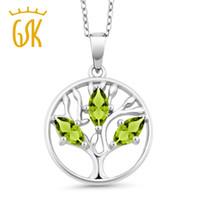 ожерелья семейного древа оптовых-Family Tree Jewelry 0.75 Ct Marquise Natural Green Peridot Tree Of Life 925 Sterling Silver Pendant Necklace For Women
