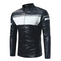 Discount pu leather sleeves jackets - popular men's autumn motorcycle jacket Slim youth PU stand collar color matching men's leather