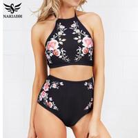 ingrosso bating suits-2018 New High Neck Bikini Donna Swimwear Vita alta Costume da bagno Retro Print Floral Crop Top Halter Bikini Set Suit Bating