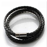 Wholesale mens braided rope bracelets - p2 Hot NEW Multilayer Synthetic Leather Braided Rope Bracelet Wristband Mens Cool Bangle Cuff Gift Drop Free