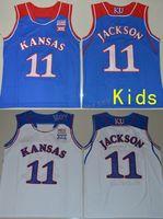 kansas basketball großhandel-2018 Kinder Jugend Kansas Jayhawks # 11 Josh Jackson Königsblau Weiß College Basketball Jerseys genähte Größe S-XL