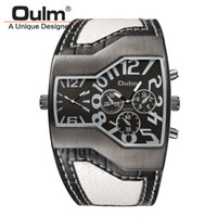 relógios largos venda por atacado-Oulm 1220 Relógios Homens Esporte Casual Couro PU Relógio De Pulso Convexo Rosto Cinta Larga Decorativos Pequenos Mostradores de Luxo Masculino Relógio De Quartzo